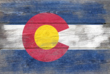 Colorado State Flag - Barnwood Painting (Image Only) Poster di  Lantern Press