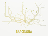 Barcelona Screen Print White Serigraph by  LinePosters