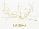 Barcelona Screen Print White Serigrafia di  LinePosters