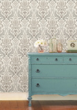 Grey Nouveau Damask Peel & Stick Wallpaper Removable Wallpaper