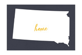 South Dakota - Home State - White on Gray Premium Giclee-trykk av  Lantern Press