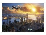 747-8F flying over Hong Kong Julisteet