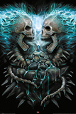 Spiral- Flaming Skull Heart Posters