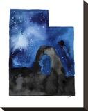 Utah State Watercolor Trykk på strukket lerret av Jessica Durrant