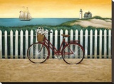 Cycle to the Beach Stretched Canvas Print by Lowell Herrero