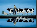 Delta Cows Stretched Canvas Print by Lowell Herrero