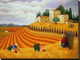 Village Harvest Stretched Canvas Print by Lowell Herrero