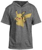 Short Sleeve Hoodie: Pokemon-  Happy Pika Sudadera con capucha