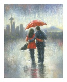 Seattle Lovers in the Rain Posters by Vickie Wade