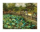 Lotus Pond, Shiba, Tokyo, c.1886 Premium Giclée-tryk af Theodore Wores