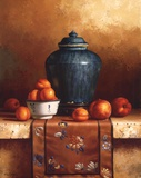 Ginger Jar with Peaches, Apricots & Tapestry Affiches par Loran Speck
