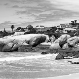 Awesome South Africa Collection Square - Landscape of Boulders Beach - Cape Town B&W Fotografie-Druck von Philippe Hugonnard