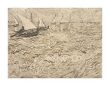 Boats at Saintes-Maries, 1888 Plakater av Vincent van Gogh