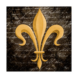 Scripted Gold Fleur De Lis II Prints by Vivien Rhyan