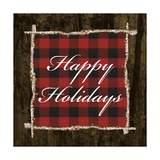 Happy Holidays on Plaid Art by Gina Ritter