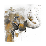 Water Elephant with Gold Plakater af Patricia Pinto