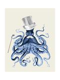 Octopus Print Blue on Cream b Kunst af Fab Funky