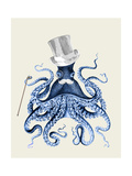 Octopus Print Blue on Cream b Prints by Fab Funky