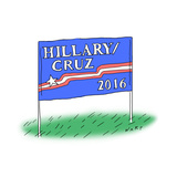 Hillary/Cruz 2016 - Cartoon Reproduction giclée Premium par Kim Warp