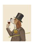 Beagle Wine Snob Premium Giclee Print by Fab Funky