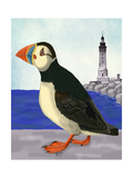 Puffin On the Quay Premium Giclee Print by Fab Funky