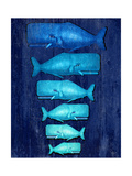Whale Family Blue on Blue Poster af Fab Funky