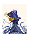 Octopus Nautical Hat Premium Giclee Print by Fab Funky