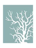 Corals White on Mist Blue Green a ポスター : ファブ・ファンキー