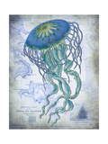 Jellyfish On image of Nautical Map Premium Giclee Print by Fab Funky