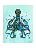 Blue Fishy Octopus Plakat af Fab Funky