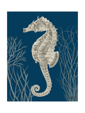 Silver Grey Seahorses on Blueb Premium Giclee Print by Fab Funky