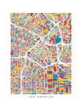 Los Angeles City Street Map Premium Giclee-trykk av Michael Tompsett