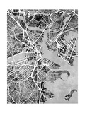 Boston Massachusetts Street Map Plakater av Michael Tompsett