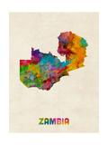 Zambia Watercolor Map Giclée-Premiumdruck von Michael Tompsett