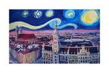 Starry Night In Munich Van Gogh Inspirations Posters par Markus Bleichner