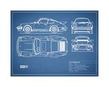 Porsche 911-Turbo 1977 Blue Stampa giclée di Mark Rogan