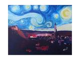 Starry Night in Landshut Van Gogh Inspirations Poster par Markus Bleichner