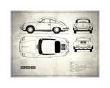 Porsche 356C White Stampa giclée di Mark Rogan