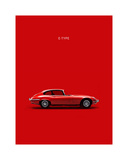 Jaguar E-Type Red Reproduction procédé giclée par Mark Rogan