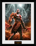 God Of War - Kratos Lightning Reproduction encadrée pour collectionneurs