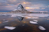 Kirkjufell Mountain at Dawn with Ice in Foreground, Snaefellsnes Peninsula, Iceland, January 2014 Photographic Print by Ben Hall