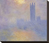 Houses of Parliament Stretched Canvas Print by Claude Monet