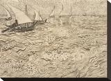 Boats at Saintes-Maries, 1888 Impressão em tela esticada por Vincent van Gogh