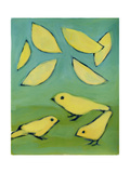 Yellow Leaves and Birds Impressão giclée por Megan Moore