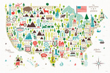 Illustrated USA Posters by Michael Mullan