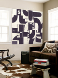 Collaged Letters Purple D Wall Mural by JB Hall