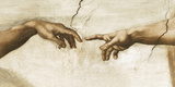 Creation of Adam, 1512 - Detail Giclée-tryk af  Michelangelo