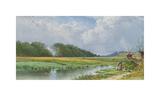 On the Meadows of Old Newburyport Premium Giclée-tryk af Alfred Thompson Bricher