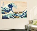 The Great Wave Off Kanagawa Veggmaleri av Katsushika Hokusai