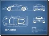Ferrari Enzo-Blue Bedruckte aufgespannte Leinwand von Mark Rogan